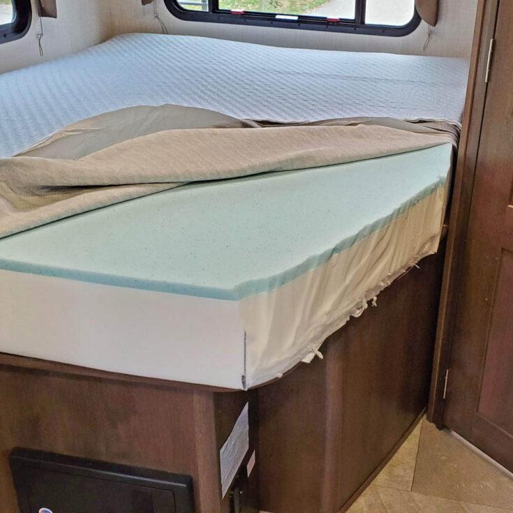 a custom cut in a memory foam mattress in an RV