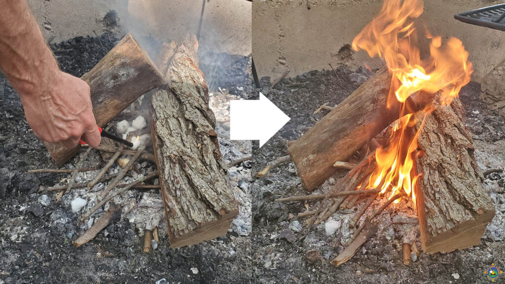 before and after of a campfire started with fire starters