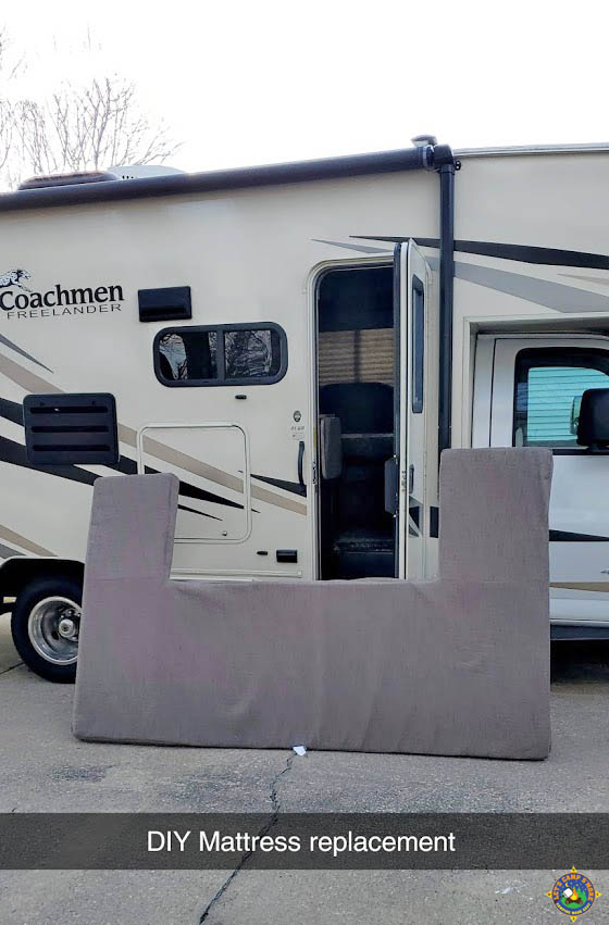 custom motorhome mattress for overhead bunk on the outside of an RV