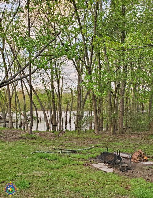 campfire pit near a lake