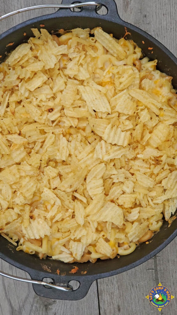 cheesy Dutch oven casserole with wavy potato chips on top