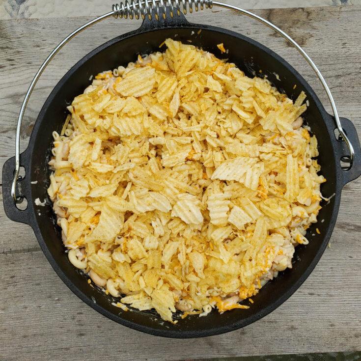 Dutch Oven camping recipe macaroni casserole