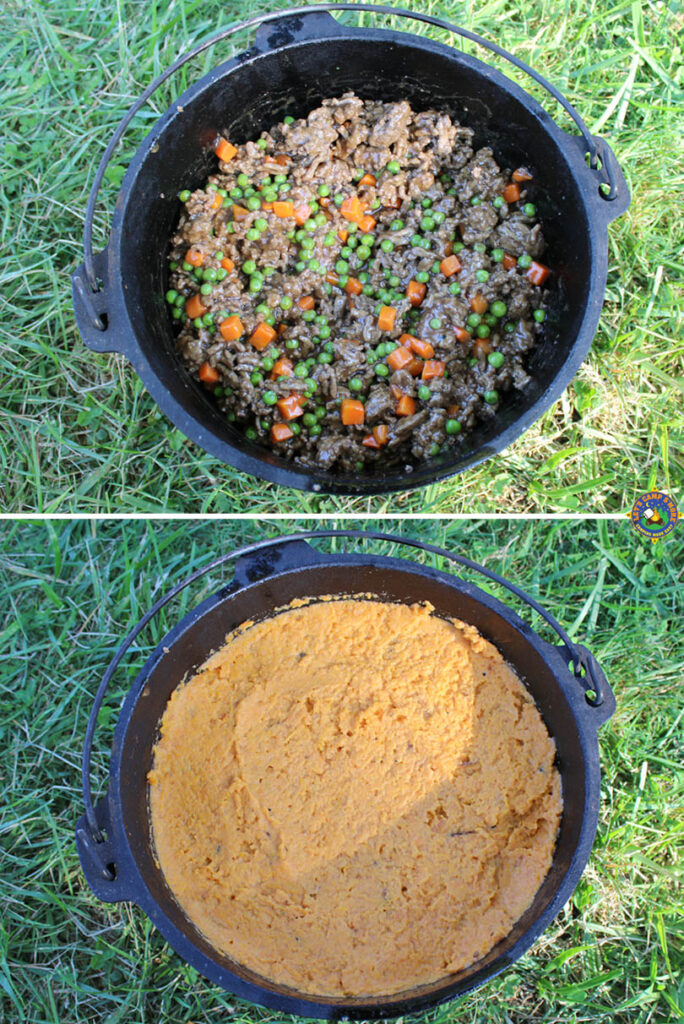 collage of how to make Shepherd's Pie in a Dutch oven