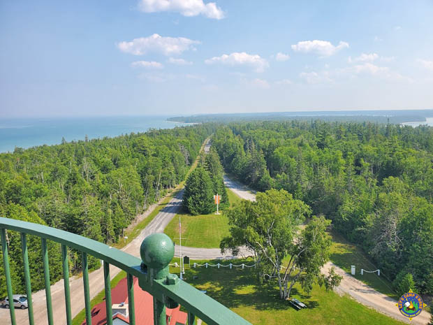 view of Presque Isle and Lake Huron from the top of new lighthouse
