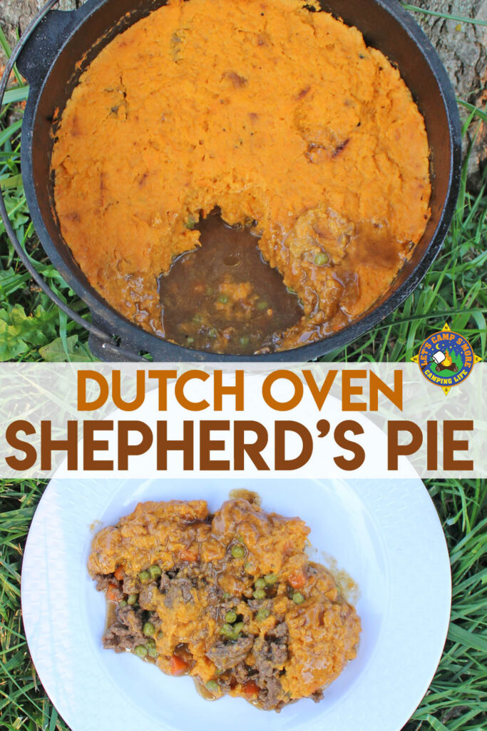 Shepherd's Pie in a Dutch oven with a serving on a white plate