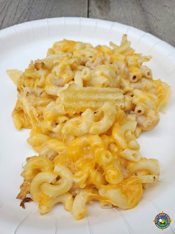 white plate with a serving of macaroni and cheese